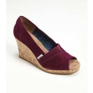 Toms Purple Corduroy Wedges Shoes Size 7